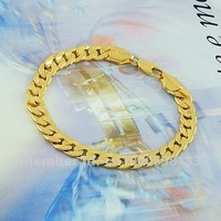 FREE SHIPPING & GOOD QUALITY -- 24KGP Gold Plated Color MAN BRACELET 190mm!!!