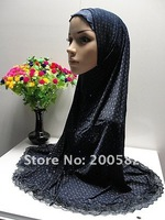 as122203 2011 2-pcs set cotton big size printed fashion scarf with lace edge in assorted color for free shipping on promotion