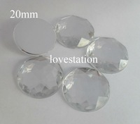 Free Shipping! 100pcs/bag Clear 20mm Round Flatback Faceted Arylic Rhinestone Beads Jewelry Garment Accessories Decoration