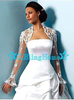 Customized Lace Bridal Shawl Wedding Wraps Jacket Long Sleeve Bolero Celebrity/Wedding/Bridesmaid/Party&Evening Dress+Free Ship