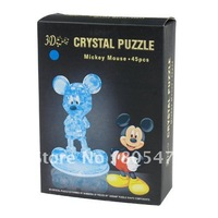 10x  with package Cartoon Mickey Mouse 3D Crystal Puzzle 45PCS Parts DIY Jigsaw Toy 2623