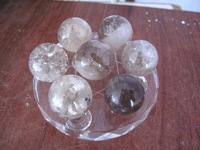 NATURAL SMOKY CITRINE QUARTZ CRYSTAL SPHERE BALL + STAND
