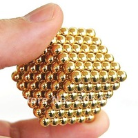shipping 3mm 216 Gold Beads Neodymium Sphere spherial Magnetic Magnet Balls Puzzle Cube 2632