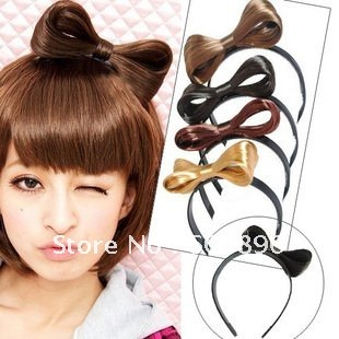 Free Shipping-synthetic hair extension/lady gaga style hair bow hair hoop black gold brown wine 4pcs/lot  hand work high quality