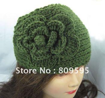 50pcs/lot Ear warmer muff knitted head wrap hat headband crochet, Olive Color  HB003