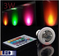 3W E27 Remote Control LED Bulb Lamp 16 Color Spot Light Wholesale Free Shipping