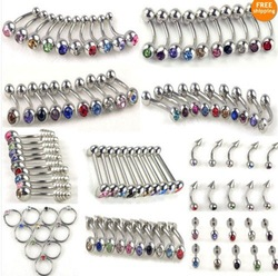 100pcs 10styles wholesale body jewelry lots belly tongue lip rhinestone piercing free shipping [BB19-BB24,BB26-BB29*10](China (Mainland))