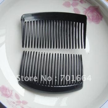 Bargain for Bulk 23teeth black plain  plastic hair combs for diy hair accessories and made bridal headpieces