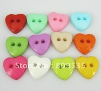 Free Shipping 800pcs Mixed Colors Heart Shape Nylon  Buttons Fit Sewing or Scrapbooking  12.5mm