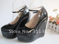 Free shipping,New arrival Patent Leather sexy high heels 34-43 Eur size,shoes women,women wedge pump SLWH015