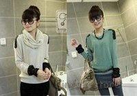 Wholesale cheap 2012  fashion casual  chiffon sleeve knit shirt bottoming/Bat sleeve round neckTShirt knitted sweater A02coat sw