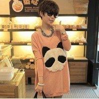 2012   new arrival  winter fashion fluffy cartoon panda head round neck  knit Tshirt A0343 wholesale cheap coat