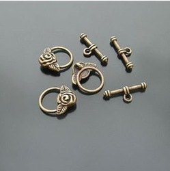Alloy rose flower OT clasps fashion jewelry components and findings toggle and bar 30pairs / lot wholesale free shipping(China (Mainland))