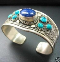 wholesale --------  Beautiful Tibet Silver Lapis Lazuli Turquoise Bracelet