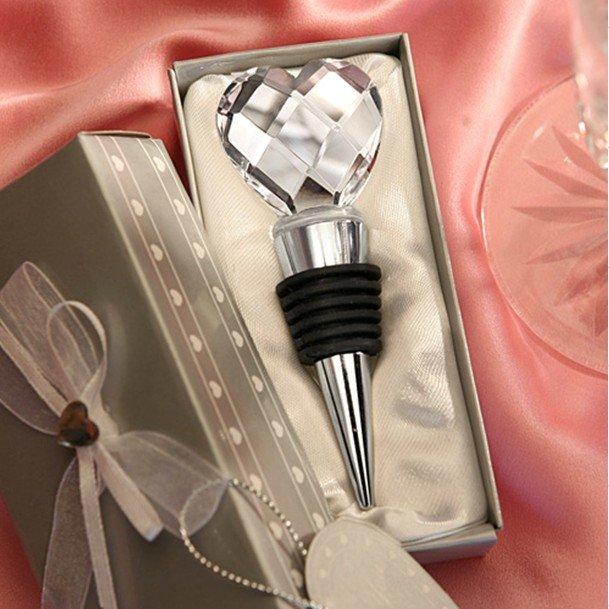 Free Shipping+100set / lot + Heart Designed Crystal Wine Bottle Stopper Wedding Favors(China (Mainland))