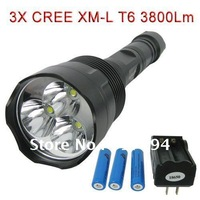 Hight quality 3800Lm 3X CREE XM-L T6 LED Extended Flashlight Torch18650 set+rechargeable Battery  3 LEDs Torch