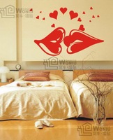 New year new scene for your home/hot red lips pvc wall sticker to change your environment