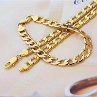 fashion jewrlry 600mm 8mm 18k yellow gold filled necklace bracelet set jewelry ,gold necklace ,gold bracelet ,gold jewellry set