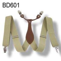 Mens 3.5 cm width Adjustable Clip-on solid beige suspenders braces BD601
