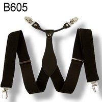 Mens 3.5 cm width Adjustable Clip-on solid black suspenders braces BD605
