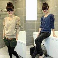 2012    fashion ladies bubble sleeve lace round neck  knit shirt wholesale A06077