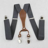 Mens 3.5 cm width Adjustable Clip-on solid gray suspenders braces BD608