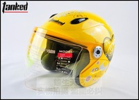 woman helmet yellow butterfly decals design open face helmet electric car helmet
