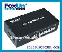 Mini 4 in 2 out Mini HDMI Matrix with Remote Controller!!Hot selling!!