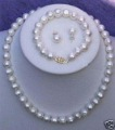 7-8mm white pearl Jewelry 7-8mm white freshwater pearl necklace bracelet  earring sets
