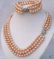 wholesale --------3Rows Elegant Purple Pearl Jewelry Necklace