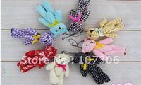 "Free shipping 30pcs/lot teddy bear plush keychain ,4.5"" teddybear mobile phone keychain,plush doll toys keychain/promotion gifts"
