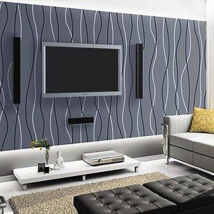 Black and white living room wallpaper for Striped wallpaper living room ideas
