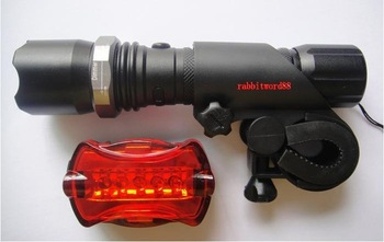 free ZOOMABLE 7W CREE Q5 LED 500 Lm Rechargeable 18650 Flashlight Torch Zoom Lamp Bicycle Rear Light Car Charger 3000mAh battery