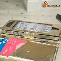 CA-5 Pcs/lot Free Shipping Hot Luxury  Leather Wallet Pouch Bag Purse Case Cover For  iPhone 4 LF-0393