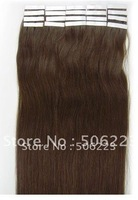 "24""  indian Hunan hair Tape in hair weft extensions silky straight #6 light brown 70g/pack free shipping"