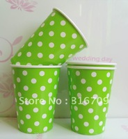 Free shipping 500pcs/lot dot paper cups, 9oz drinking cups, party supplies paper cup crafts Color Panton dot-376C