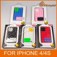CA- 5Pcs/lot  Free shipping Smart Toy Building Block Silicone Protective Case For iPhone 4 / 4S  LF-0434