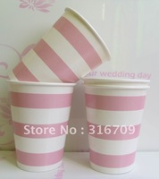 500pcs/lot paper cups , 9oz drinking cups, birthday paper cup crafts  with pink striped Panton 508C  free shipping
