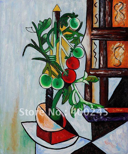 flower oil painting,still life painting,Picasso painting reproductions,Tomato Plant by Pablo Picasso,100% handmade,high quality(China (Mainland))