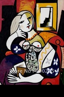 Abstract oil painting,Picasso painting,Reproductions painting,Woman with Book by Pablo Picasso Canvas,100% handmade,high quality