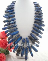 Stunning 2Strands 12x60mm Blue Chrysocolla  Necklace