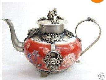 Refined Tibet Red Porcelain Silver Lion/Phenix Tea Pot free shipping