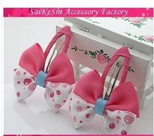 Free shipping,  wholesale!  pink  water dot children hairpin