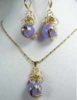 Hot beautiful Fashion Jewellery Natural purple jade dragon pendant necklace Earring set free shipping