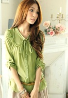 Fashion Lady chiffon Cheap Blouse Long Top Woman Clothing With Lotus leaf bowknot Shirt 2013