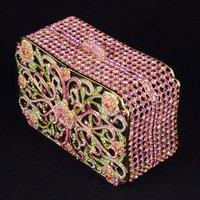 Luxurious pink Flower Clutch Evening Handbag Purse Bag W