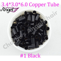 2500pcs-5 bottles 3.4*3.0*6.0mm Micro copper tube/Rings/links/beads for Hair Extensions, 5 colors Optional Free Shipping