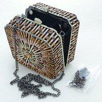 Luxurious Square Brown Clutch Evening Handbag Purse Bag W/ Crystals