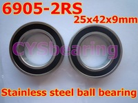 whosale and retail quality stainless steel 440C 6905 SS6905 S6905 2RS 61905  6905ZZ 25X42X9 mm deep groove ball bearing
