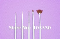 Wholesale 5pcs/set  Nail art brush set Paintting Drawing brush Silvery Handle Free shipping